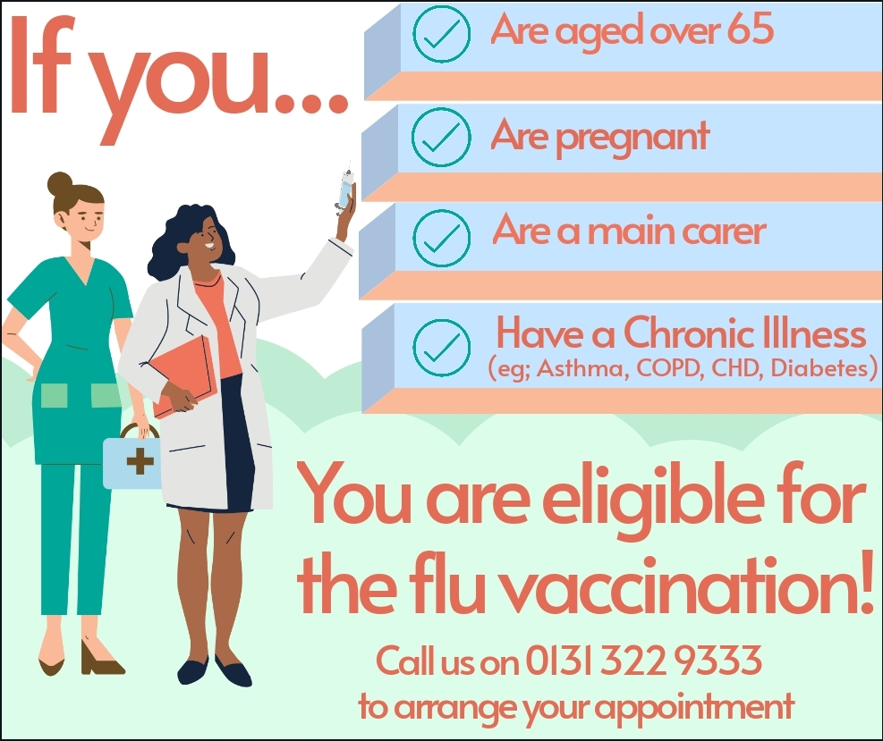 If you are aged over 65 or are pregnant or are a main carer or have a chronic illness such as asthama, COPD, CHD, Diabetes then you are eligible for the flu vaccination. Call us on 0131 322 9333 to arrange your appointment.